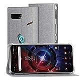 Foluu ASUS ROG Phone 2 Hülle, ROG Phone 2 Wallet Brieftaschen-Schutzhülle mit Kartenschlitz starker Magnetverschluss Klapphülle weiches TPU stoßfest für ASUS ROG Phone 2 (Grau)