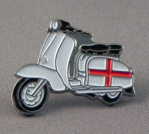 Mainly Metal Broche en métal émaillé Scooter Lambretta Drapeau d'Angleterre St. George