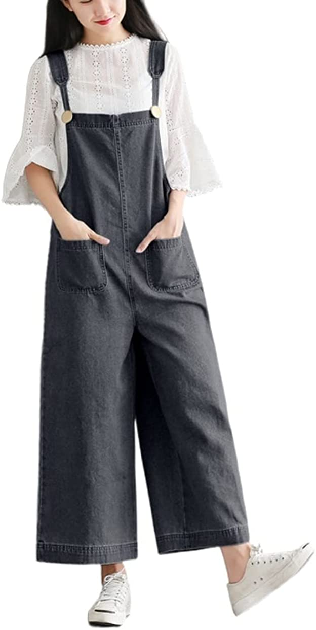 Womens Summer Max 75% OFF Casual Loose Long Leg Bib Wide Jumpsuits Reservation Overalls