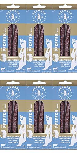 berwork Powerwurst 6x Pfeffer | Die Fitness- und Protein-Wurst als Fleisch-Snack, Wurstsnack und als Protein Snack | viel Eiweiß, wenig Fett, ohne Zusatzstoffe, made in Germany (Pfeffer)