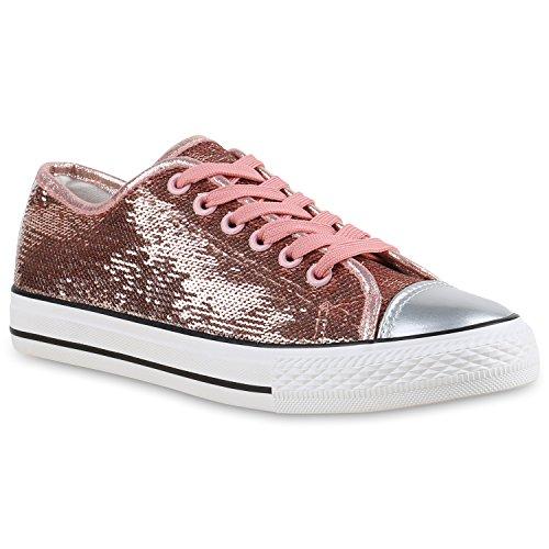 stiefelparadies Glänzende Damen Sneakers Glitzer Metallic Sneaker Low Pailletten Flats Turn Leder-Optik Schuhe 136683 Rose Gold Glanz 38 Flandell