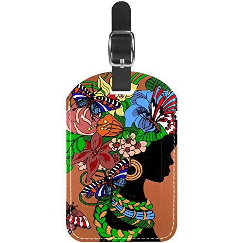 Etiquetas de equipaje con cabeza de flor de mariposa para mujer, etiquetas de maleta de viaje, 1 paquetes