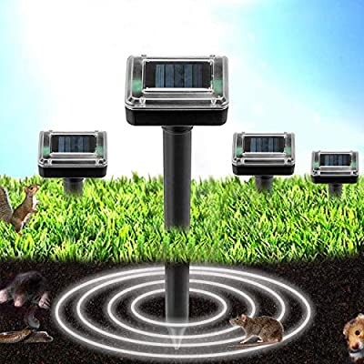 4 Pack Solar Powered Mole Repellent, Ultrasonic Pest Repeller, Gopher, Mole, Snake, Mouse, Rodent Repellent, Pest Control for Lawn Garden Yard Outdoor