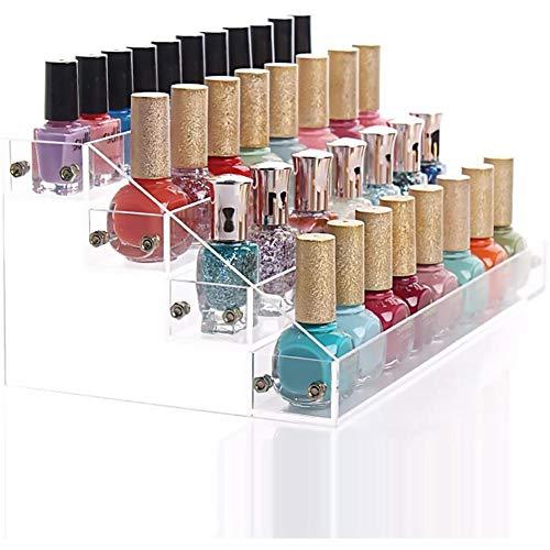 Organiseur pour vernis à ongles à 4 niveaux, présentoir à vernis transparent, support émaillé, présentoir pour présentoir de cosmétiques, 16,6 x 14,2 cm