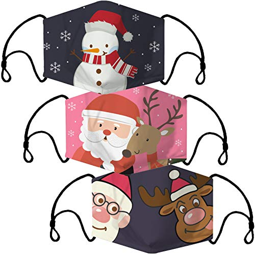 O³ Mundschutz Maske mit Weihnachts-Motiv // 3 Stoff Masken (Weihnachtsmann, Rentier, Schneemann) bunt, lustig, komisch für Männer & Frauen // Waschbar & Wiederverwendbar