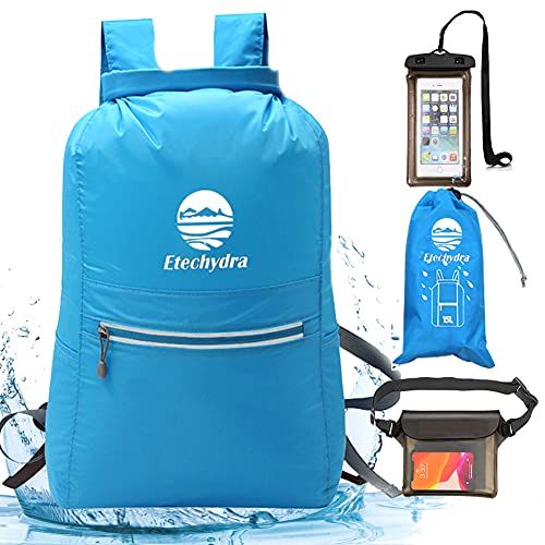 Etechydra Mochila impermeable de bolsa seca, ligera, flotante, con bolsa seca para teléfono y bolsa para mochila para playa, natación, barco, camping y pesca, bolsa seca azul de 10 l