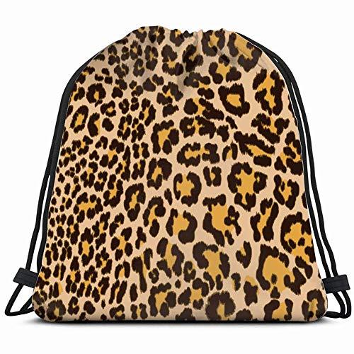 Sanme Mochila con cordón Mochila de Leopardo de imitación Patternd Bolsa de Saco de Gimnasio Mochila con cordón Deporte Playa Viaje Mochila al Aire Libre