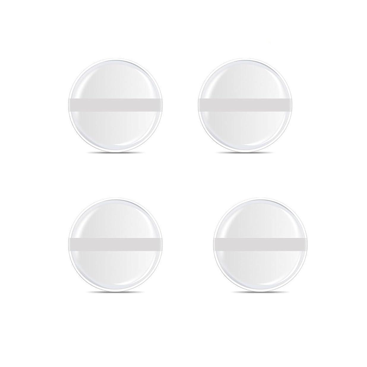 ズームインする巻き取りボランティアシリコンパフ 帯付き メイクスポンジ ゲルパフ ゼリーパフ 清潔しやすい衛生 柔らかく 透明な 4枚入 (円形 4入り)