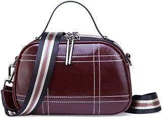 FengheYQ Women's Messenger Bag Simple and Versatile Compact Bills Shoulder Slung Leather Handbags Size:23 * 10 * 15cm (Color : Purple)