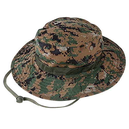 Sombrero Redondo Táctico, QMFIVE Sombrero de Camuflaje Boonie Gorra de protección Solar para el Aire Libre Fishing Climb Camping(AOR2)