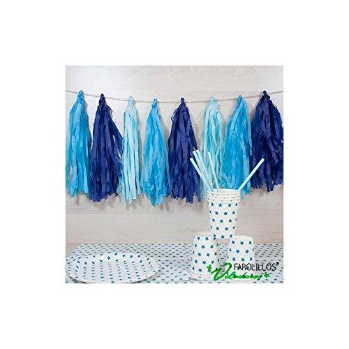 farolillos voladores Guirnalda de Papel de Flecos Azul