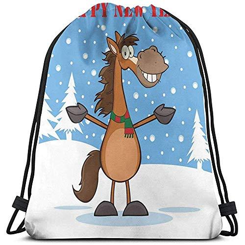 BOUIA Trekkoord Rugzak Sport Gym Cinch Tas, Cartoon Typografie Met Een Lachend Paard Mascotte Karakter Winter Seizoen Thema