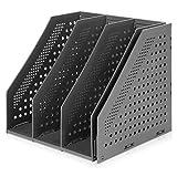 Marte Vanci Revistero plegable de 4 compartimentos para escritorio, ajustable, resistente, divisores de archivos, gabinete de documentos, color negro
