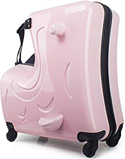 Trolley Case Children Suitcase - Can Sit,Can Ride, Can Drag, 21 Inchestrojans Caster Suitcase Travel Luggage Carry-Ons (Color : Pink, Size : A)