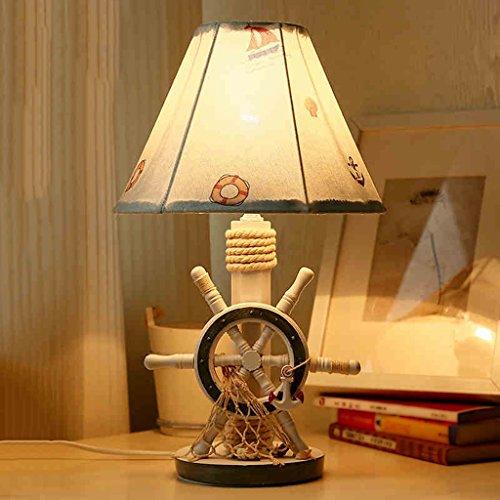 Bonne chose lampe de table Lampe de table pour enfants Chambre méditerranéenne Étude sur le chevet Décoration Tissu simple et moderne Lampe créative