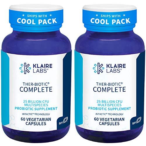Klaire Labs Ther-Biotic Complete - Probiotic Supplement with 25 Billion CFU - Hypoallergenic Probiotics for Men + Women - Digestive, Gut Health + Immune Support - Dairy-Free (60 Caps / 2 Pack)
