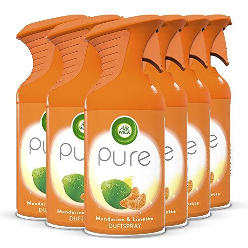 Air Wick PURE Mandarine & Limette – Aromatisch-frisches Duftspray geruchsneutralisierend & ohne feuchten Niederschlag – Duft: Mandarine & Limette – 6 x 250 ml