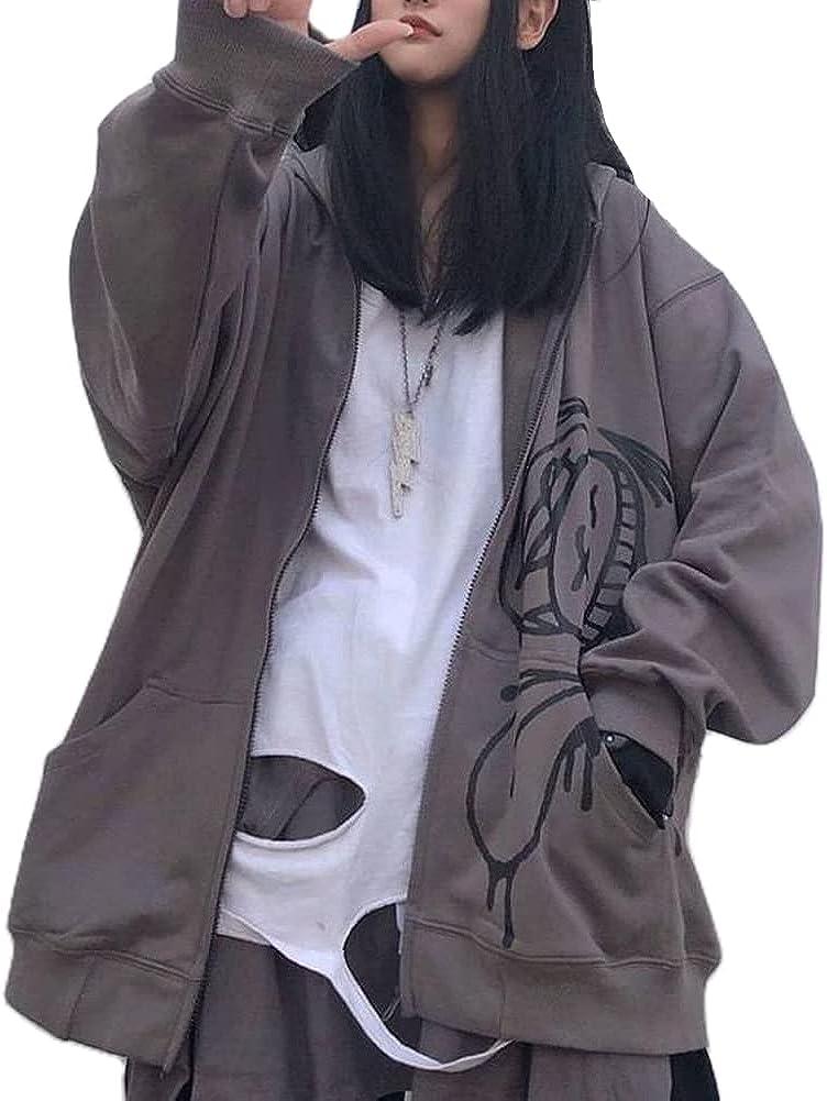 Dcohmch Women Girl Y2k Zip Up Hoodie Loose Oversized Graphic Skeleton Letter Print Hooded Sweatshirt Zipper Pullover Jacket