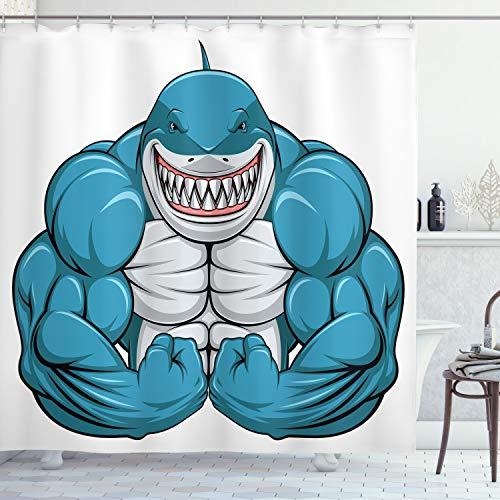 ABAKUHAUS Fisch Duschvorhang, Toothy Weißer Hai lächelt, Moderner Digitaldruck mit 12 Haken auf Stoff Wasser und Bakterie Resistent, 175 x 200 cm, Hellgraue benzinblau