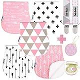 Dodo Baby-Spucktücher, 5 Stück, 2 Schnullerklammern + Schnulleretui, Premium-Qualität, für Mädchen, weich und saugfähig, tolles Geschenk für Babyparty
