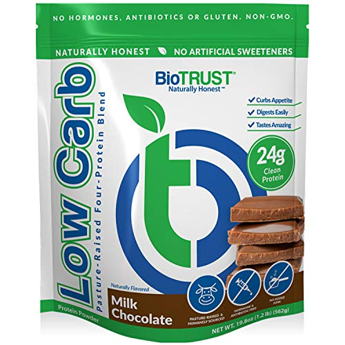 BioTrust Low Carb Natural and Delicious Protein Powder Whey and Casein Blend from Grass-Fed Hormone Free Cows (Chocolate)