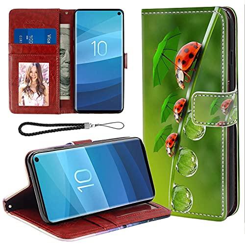 UZEUZA Funda tipo cartera para Samsung Galaxy S10+ Ladybug Cartoon Phone Case con soporte de soporte, ranuras para tarjetas, funda con tapa para Samsung Galaxy S10+