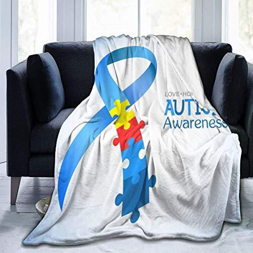 Manta Concienciación sobre el Autismo Puzzle Bandera Azul Manta de Lana Manta Plegable Manta difusa Manta de Felpa Manta de Playa 127X102CM