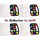1a-becker 4X 13tlg Malkasten Wasserfarben Pinsel Künstler Farbkasten Malen