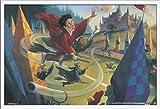 Trends International Wizarding World: Harry Potter-Illustrated Quidditch, 22.375' x 34', White Framed Version