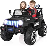 angstep 2 Seater Kids Electric Car, 12v Battery Car for Kids w/2.4G Remote Control, Spring Suspension, LED Lights, Horn, Bumper Guard, Openable Doors Blue (Black)