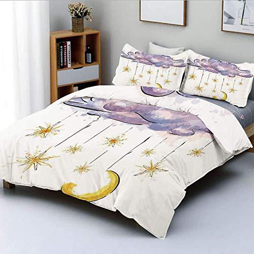 Juego de funda nórdica, imagen de luna colgante y estrellas en nube de hadas en la noche Horóscopo decorativo para el hogar Juego de cama decorativo de 3 piezas con 2 fundas de almohada, naranja viole