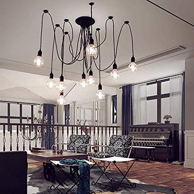 ChandeliersVintage Edison Multiple Ajustable DIY Ceiling Spider Lamp Light Pendant Lighting Chandelier Light,10Arms
