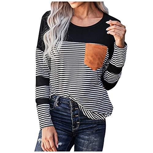 Frauen gestreifte Tops Pocket Patchwork Casual Rundhals Langarm Bluse T-Shirt(#01,S)