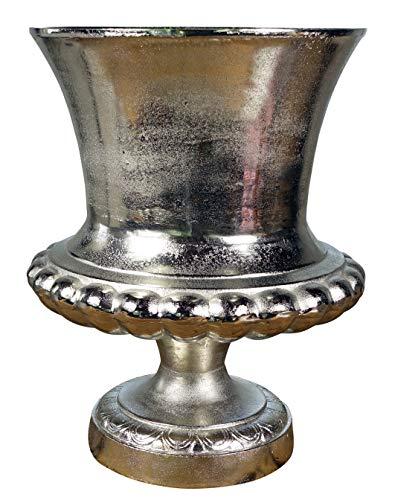 MichaelNoll Vase Blumenvase Gefäß Pokalvase Dekovase Aluminium Silber Groß - Bodenvase für Kunstblumen und Pampasgras - XXL 47 cm