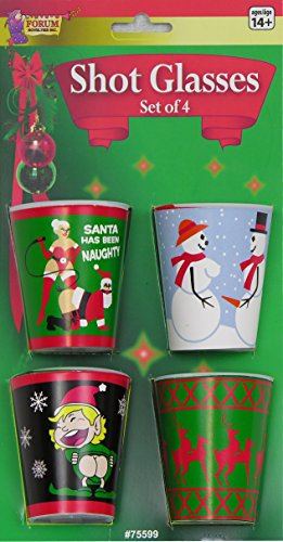 Forum Novelties X-Rated Christmas Shot Glasses, Multicolor, Naughty
