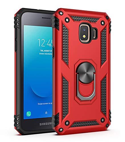 BestST Galaxy J2 Core 2018 Hülle, für Samsung Galaxy J2 Core 2018 Schutzhülle 360 Grad Drehbar Ringhalter mit Magnetischer Handyhalter Auto Handy hülle + Panzerglas Bildschirmschutz - Rot