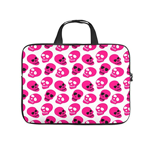 Calavera Pink Skull Full Print Laptop Bag Protective Case Waterproof Neoprene Laptop Bag Cover Funny Notebook Sleeve Case for Friends Family