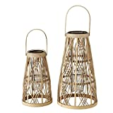 Bambus Laternen Natur 2er Set Sortiert H32-43cm