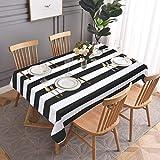 Yugarlibi Wipe Clean - Manteles cuadrados de rayas blancas y negras (152 x 305 cm)