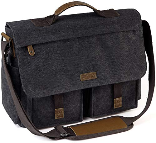 Messenger Bag for Men, VASCHY Vintage Water Resistant Waxed Canvas Satchel 15.6 inch Laptop Briefcase Shoulder Bag with Padded Shoulder Strap Gray