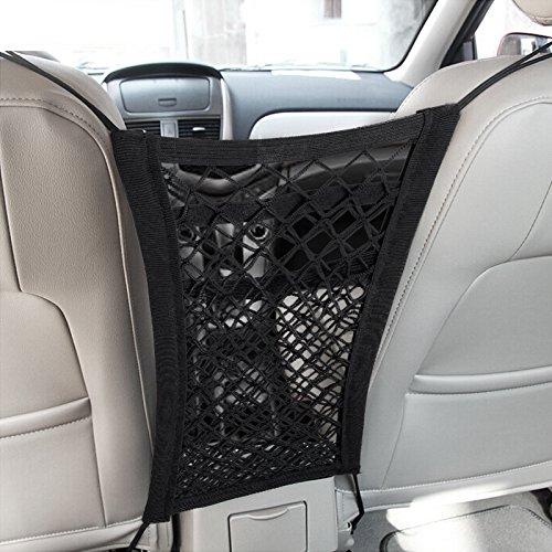 MICTUNING Upgraded 2-Layer Universal Car Seat Storage Mesh Organizer - Mesh Cargo Net Hook Pouch Holder for Purse Bag Phone Pets Children Kids Disturb Stopper