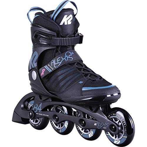 K2 Inline Skates ALEXIS 84 SPEED ALU Für Damen Mit K2 Softboot, Black - Steel Blue, 30D0270