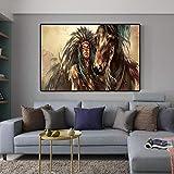 DASHBIG Cuadros decoración Pintura de Lienzo de Indio Nativo Abstracto Carteles e Impresiones de Soldados nativos Americanos de Arte de Pared para la de la Sala de Estar del hogar 80X120cm sin Marco