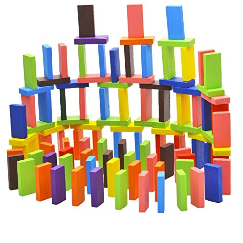 Fiddlys 120 pcs 12 Color Wooden Blocks Set, Dominos Kids Game Educational Play Toy