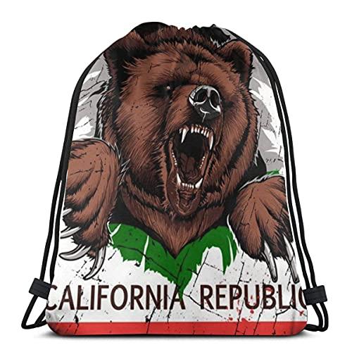 Lmtt Bolsas con cordón Mochila con la bandera de la República de California Bolsas con cuerdas de almacenamiento Gimnasio para mujeres Mochila de béisbol de hombro Talla única