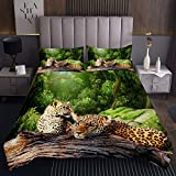 Leopard Steppdecke Safari Geparden Drucken Tagesdecke 240x260cm für Kinder Paar Leopard Wildtier Bettüberwurf Tierwelt Stil Mit 2 Kissenbezug 3St