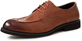 SHENTIANWEI Grid Embossed Oxfords for Men Office Shoes Lace up Genuine Leather Pointed Toe Anti-Collision Patchwork Burnished Style Anti-Skid (Color : Brown, Size : 7 UK)