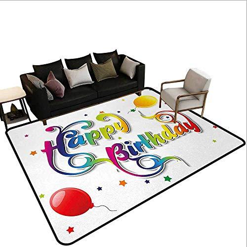MsShe tapijt verjaardag, hand getrokken stijl elementen van verrassing Celebration Party Cupcakes harten en hoeden, Multi kleuren