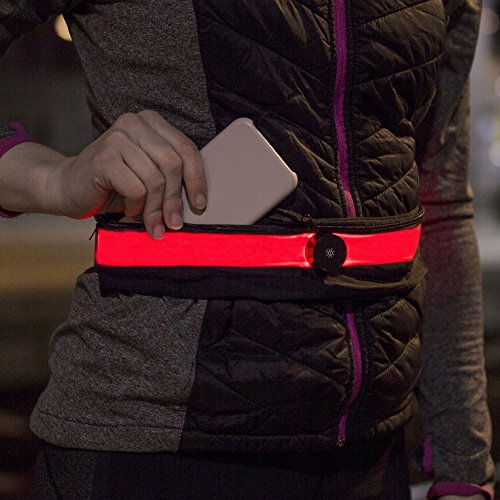 Gürteltasche Sport Bauchtasche LED Laufgürtel - leuchtet im Dunkeln - mit Handytasche Smartphone bis 5,2 Zoll (13,2cm) Laufgurt schwarz/rot