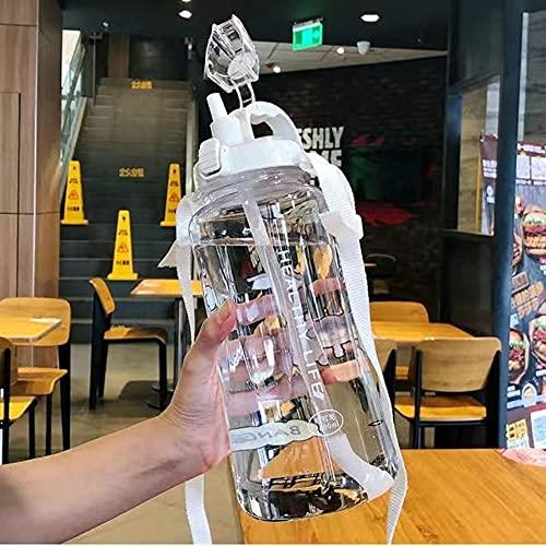 Botella de agua de gran capacidad de 2000 ml Botellas deportivas portátiles con pajita Camping Ciclismo Viaje Jugo de plástico Drinkware-2L Con pegatinas, Blanco